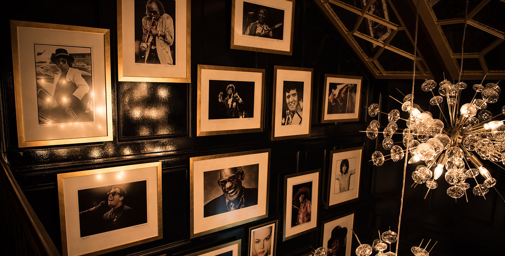 Rare celebrity photos adorn the walls of the lobby